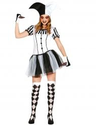 Harlekin-Kostüm für Damen schwarz-weiss