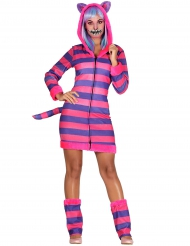 Grinse-Katze Kostüm gestreift für Damen