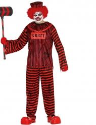Verrücktes Psycho Zombie-Clownkostüm Halloween schwarz-rot