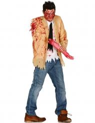 Armloses Zombiekostüm für Herren Halloween beige-weiss