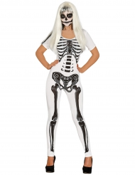 Skelett-Damenkostüm Overall Halloween weiss-schwarz
