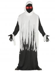 Gespenstische Robe Halloween-Verkleidung mit LED schwarz-weiss
