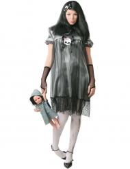 Gothic-Puppenkostüm für Erwachsene Halloween schwarz-grau-weiss