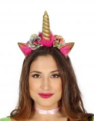 Einhorn Haarreif für Erwachsene rosa