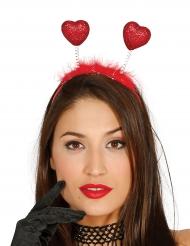 Glitzer-Herzchen Haarreif für Damen rot