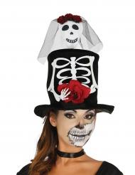 Skelett Damen Zylinder Halloween schwarz-weiss-rot