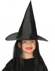 Hexenhut mit Haaren für Kinder schwarz