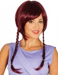 Geisha-Bob Perücke für Damen Kurzhaar-Frisur mit Zöpfen rot
