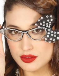 50er Jahre-Brille Rock´n´Roll Kostümzubehör schwarz-weiss