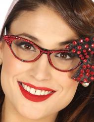 50er Brille mit roter Schleife für Damen