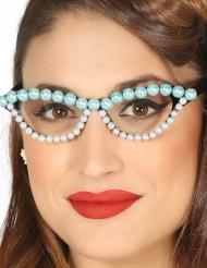 50er-Jahre Rockabilly Brille mit Perlen für Erwachsene schwarz-weiss