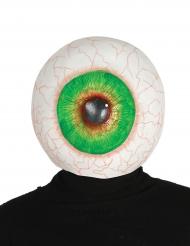 Schaurige Augen-Maske Halloween weiss-grün