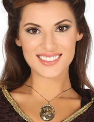 Wolf-Amulett für Damen Kostümaccessoire bronze
