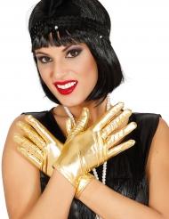 20er-Jahre Damen-Handschuhe im Metallic-Look gold