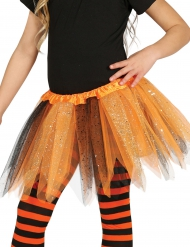 Tutu mit Glitzer für Mädchen schwarz-orange