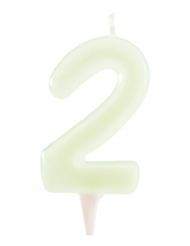 Phosphoreszierende Kerze Zahl 2 Kuchendeko 6 cm