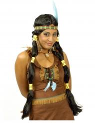 Indianer Perücke für Damen mit Zöpfen