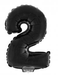 Aluminiumballon Nummer 2 schwarz 40 cm