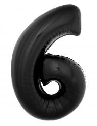 Aluminiumballon Zahl 6 schwarz 1 Meter