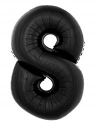Aluminiumballon Zahl 8 schwarz 1 Meter