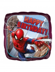 Aluminium-Ballon quadratisch Spider-Man™ Happy Birthday 43 cm