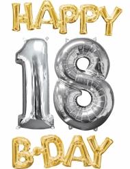 4 Aluminium-Ballons Happy Bday 18 gold-silber
