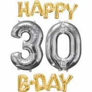 4 Aluminium-Ballons Happy Bday 30 gold-silber