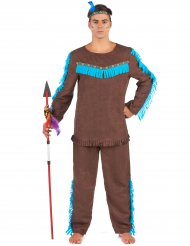 Indianer Kostüm mit Stirnband für Herren bunt