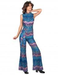 Blaues 70er Jahre Damenkostüm Overall