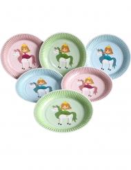 6 Prinzessinnen Einhorn Pappteller Kindergeburtstag 23 cm