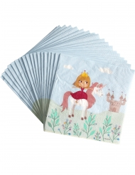 20 Prinzessinnen Einhorn Servietten aus Papier 33x33 cm
