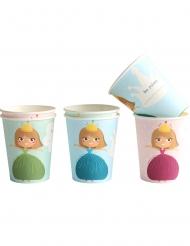 6 Prinzessin Pappbecher pastellfarben 250 ml