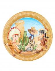 6 Pappteller mit Cowboy- und Indianermotiv 23 cm