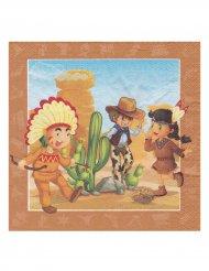 20 Servietten mit Cowboy und Indianern