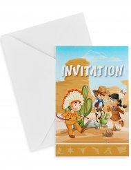 6 Einladungskarten Western 10x15 cm