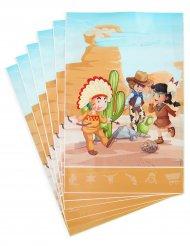 6 Cowboy und Indianer Geschenktüten 15 x 23 cm