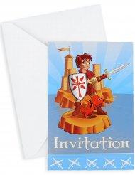 6 Ritter Einladungskarten Kindergeburtstag 10x15 cm