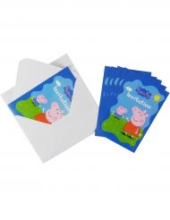 6 Einladungskarten mit Peppa Wutz Umschlägen 10 x 15 cm