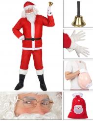 Weihnachtsmann-Kostüm-Set Kostüm für Herren 10-teilig rot-weiss