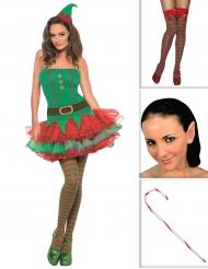 Set Elfenkostüm für Damen mit Strümpfen, Ohren und Stock