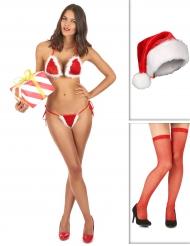 Sexy Weihnachtsfrau Accessoire-Set rot-weiß