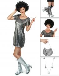 Set Disco Kostüm in Silber für Damen