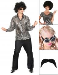 Kostüme Set Disco in Silber für Herren