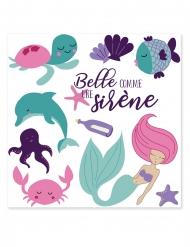 Meerjungfrauen Tattoos blau-rosa
