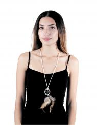 Traumfänger-Halskette weiss-braun Erwachsene