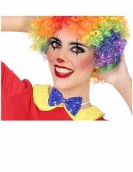 Clown-Fliege Kostüm-Accessoire mit Pailletten blau