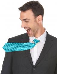 Stilvolle Krawatte mit Pailletten für Herren Karnevals-Zubehör türkis