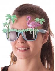 Exotische Sonnenbrille Hawaii Kostümzubehör Flamingo bunt