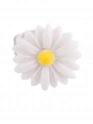 Ring mit Gänseblümchen Accessoire für Erwachsene silber-weiss