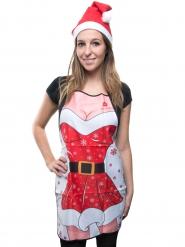 Sexy Weihnachtsfrau-Schürze rot-weiss-schwarz